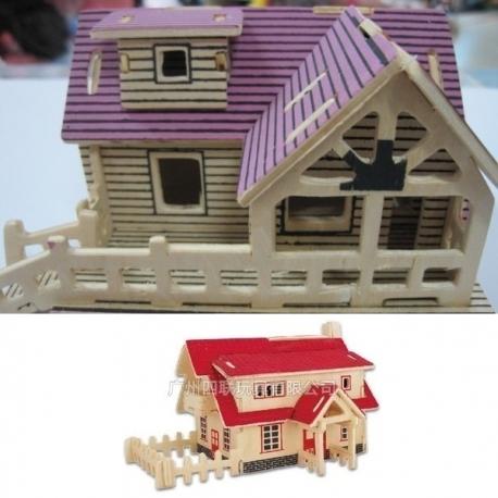 3D puzzle casuta din lemn