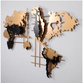 Ретро панно из металла Карта Мира