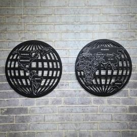Ретро панно из металла Карта Мира 02